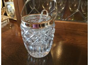 Crystal ice bucket with silver trim with tongs