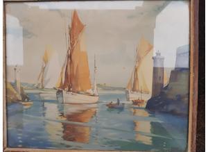 "Frank Sherwin ""Tunny Boats"" Vintage Print"