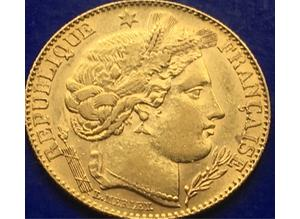 22ct Gold Ceres Godess Of Agriculture 10 Franc Gold Coin Paris 1896.