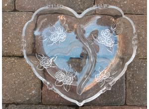 Beautifull Clear & Frosted Glass Heart Dish