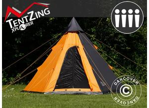 Camping tent Teepee, TentZing, 4 persons, Orange/Dark Grey