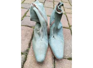 Ladies Green Denhim Boots Size 6