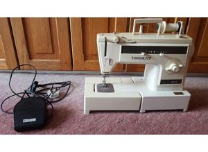 Vintage Silver Viscount 827 Electric Sewing Machine with Pedal & Power Lead