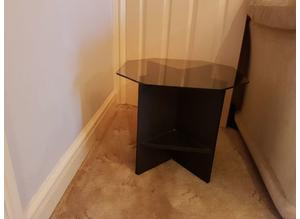 Black ash 8 sided coffee table with 4 small shelves