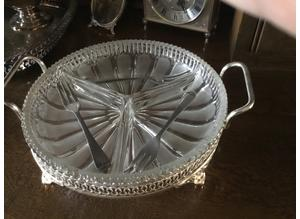 Silver and crystal snack/nut tray