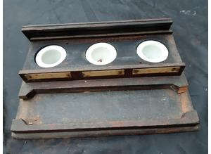 Antique Wooden Triple Inkwell