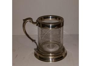 Antique silver plated & glass mug post 1850s