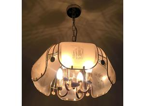 Beautiful Light Pendant Antique Gold w/ Engraved Glass Shade