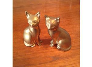 Brass cats figurines