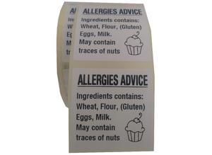 Cupcake  Allergy Labels 500 On A Roll