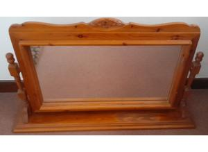 Mirror on Solid Wood Stand