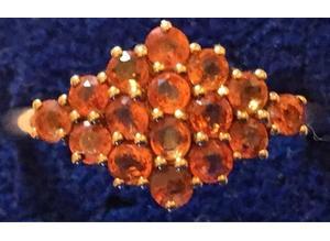 Ladies Jewellery 9ct Gold Bright Orange Fire Sapphire Ring Fully Hallmarked 375.