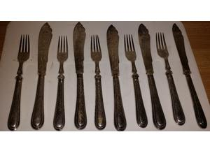 Antique silver plated fish fork set