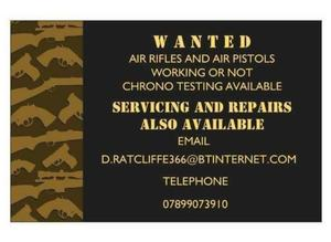 AIRGUNS AND SHOOTING EQUIPMENT WANTED