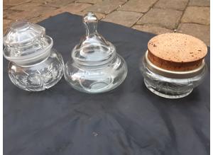 Vintage Glass Storage Pots With Lids