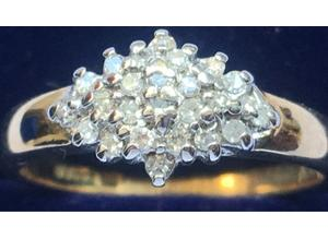 Ladies Jewellery 9ct Gold Diamond Cluster Ring Fully Hallmarked 375 0.18ct