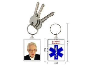 Personalised medical alert key rings. ICE In Case of Emergency.