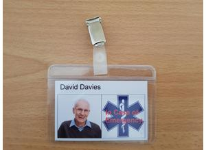 Personalised medical alert ID badge. ICE In Case of Emergency.