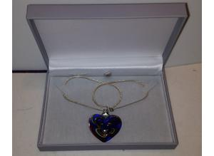 Valentines day gift of Murano glass heart & 925 kt silver necklace