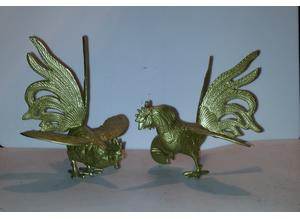 vintage brass fighting cockerels/roosters Ornaments