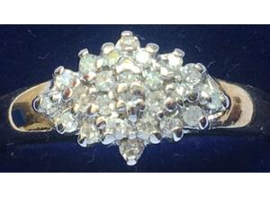 Ladies Jewellery 9ct Gold Diamond Cluster Ring Fully Hallmarked 375 0.18ct.