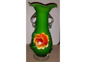 Vintage murano green glass vase