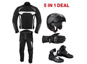 (White) Motowizard Design Suit -Jacket + Trouser + Helmet +Gloves + Boots (short)