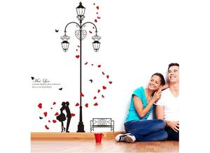 Love Couples Red Petals Wall Sticker Vinyl