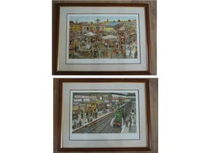 'THE FAIRGROUND' & 'AWAY DAY' - 2 x FRAMED SIGNED LIMITED EDITION PRINTS BY (THE LATE) LEWIS BENNETT... VERY RARE!!!