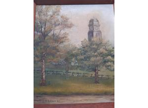 Oil Painting Of Old Clock Tower
