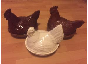 Three egg hens/ chicken. Egg holders
