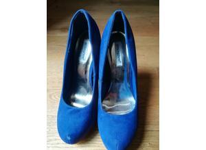 Ladies Blue Suede Stilleto Shoes Size 7 New