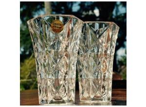 2 lovely UNUSED lead crystal vases, one boxed