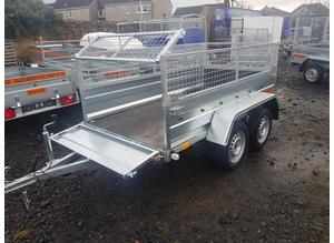 BRAND NEW MODEL 8.7 x 4.2 DOUBLE AXLE TRAILER WITH 40CM MESH