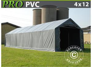 Storage shelter PRO 4x12x2x3.1 m, PVC, Grey