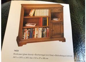 Old Charm Oak Bookcase with sliding glass doors