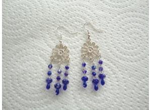 Handmade, Blue Glass Bead, Chandelier Earrings. S.P. Hook Ear-Wires.