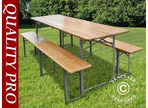 Beer Table Set, 240x60x76cm, Light wood
