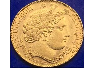 22ct Gold Ceres Goddess Of Agriculture 10 Franc Gold Coin Paris 1896.