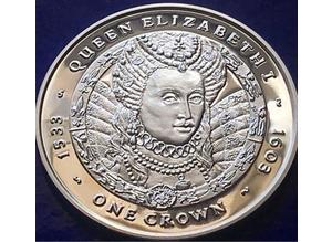 Queen Elizabeth 1st Sterling Silver 1 Crown Proof Coin- Falklands 2007 28g.