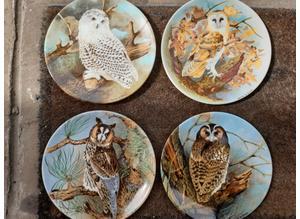 "Coalport "" The Wise Owl"" Ltd Edition Collectors Plates X 4"