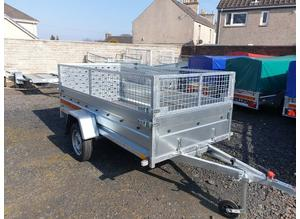BRAND NEW 8.7 x 4.2 TRAILER TIPPING SINGLE AXLE WITH 40CM MESH AND A RAMP