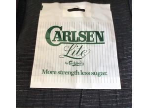 RARE, vintage 1970's UNUSED Breweriana carrier bag. Carlsen Lite by Carlsberg
