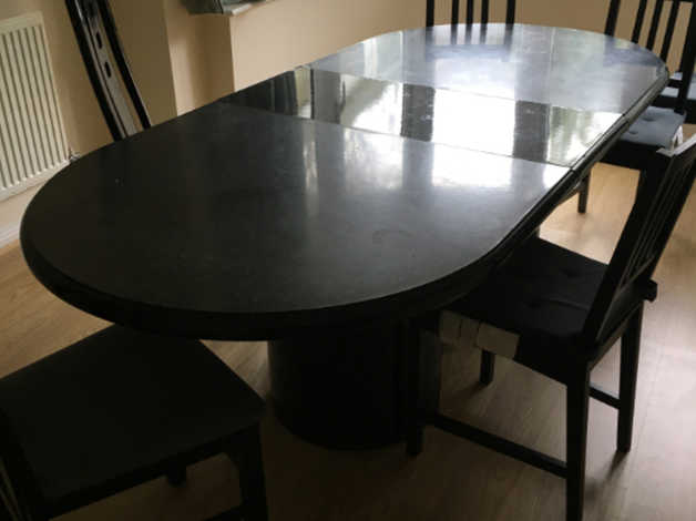Extendable Black Dining Room Table With 8 Chairs Included